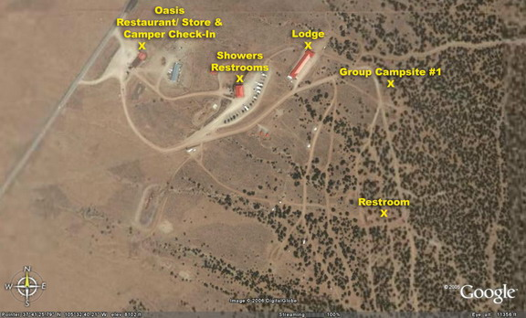 Oasis Campground aerial photo, Group Campsite #1