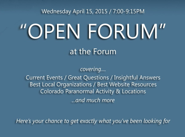"PRF ""OPEN FORUM""...at the Forum Wed. Apr. 15, 2015"